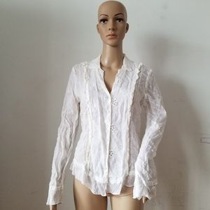 Johnny Was White Eyelet Long Sleeves Top, M